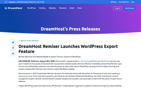 Screenshot of Press Page dreamhost.com - DreamHost Remixer Launches WordPress Export Feature  – DreamHost - captured Feb. 21, 2020