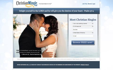Screenshot of Landing Page christianmingle.com - Online Christian Dating for Christian Singles | Join Free @ ChristianMingle - captured Oct. 27, 2014
