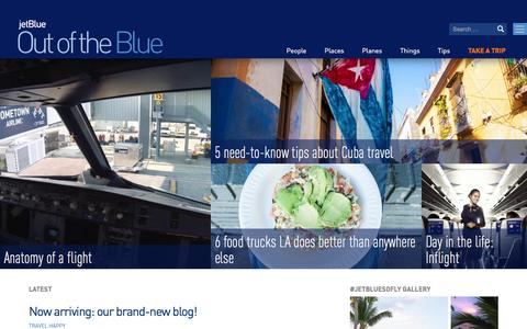 Screenshot of Blog jetblue.com - Out of the Blue – Your destination for JetBlue inspiration and beyond. - captured March 3, 2016