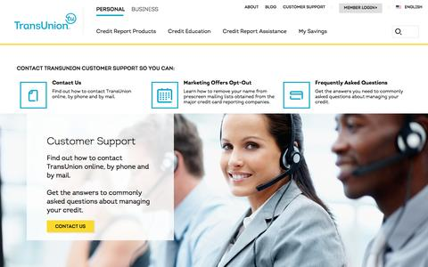 Screenshot of Support Page transunion.com - Customer Support  Transunion - captured April 20, 2016