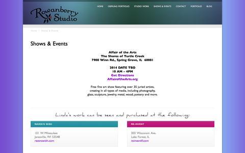 Screenshot of Press Page rowanberrystudio.com - Shows & Events - captured Sept. 26, 2014