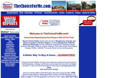 Screenshot of Home Page thechoiceforme.com - Prattville AL, Montgomery AL & the River Region Homes for Sale and  Relocations | Buyer's Choice Realty - captured Oct. 5, 2014