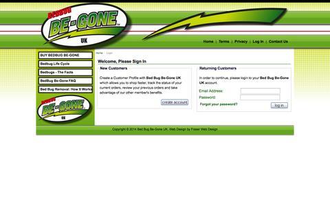 Screenshot of Login Page be-gone.co.uk - Login : Bed Bug Be-Gone UK : Bed Bug Removal - captured Oct. 5, 2014