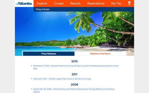 Screenshot of Press Page atlantisevents.com - Atlantis Events - Press - captured July 26, 2016