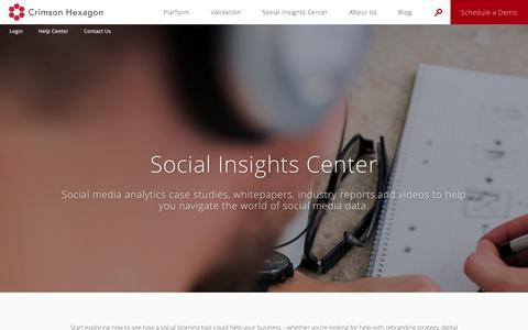 Screenshot of Case Studies Page crimsonhexagon.com - Social Media Analytics Case Studies and More | Social Insights Center | Crimson Hexagon - captured Jan. 28, 2017