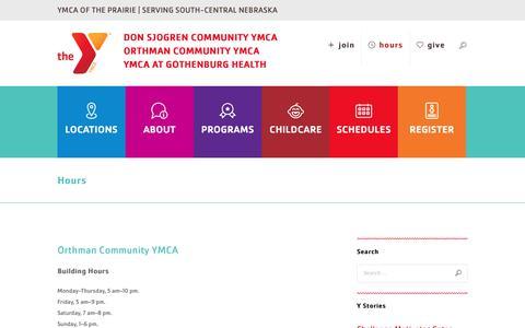 Screenshot of Hours Page ymcaoftheprairie.org - Hours | YMCA Prairie - captured Dec. 6, 2017