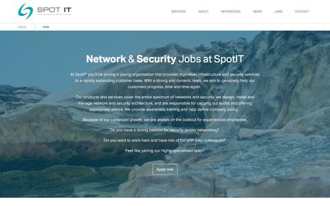 Screenshot of Jobs Page spotit.be - Spot IT - Your Network & Security Layer - captured June 15, 2017