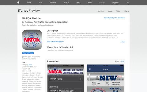 Screenshot of iOS App Page apple.com - NATCA Mobile on the App Store on iTunes - captured Oct. 27, 2014