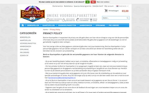 Screenshot of Privacy Page bordenkaartspellen.nl - Privacy Policy - captured Oct. 5, 2014