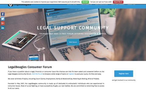 Screenshot of Home Page legalbeagles.info - LegalBeagles - captured July 17, 2018