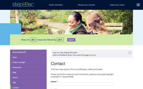 Screenshot of Contact Page stepupbc.ca - Contact StepUp BC - captured Aug. 16, 2016