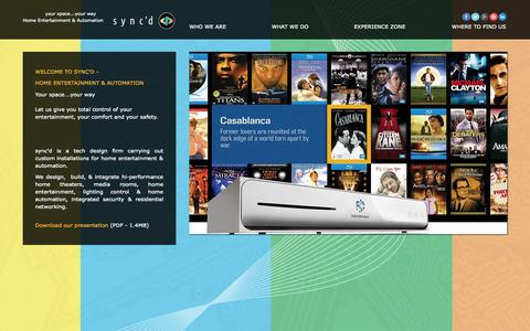 Screenshot of Home Page syncd-home.com - sync'd Home Entertainment & Automation - captured Sept. 30, 2014