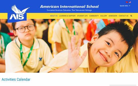 Screenshot of Home Page ais.edu.vn - American International School Vietnam - About Us - captured Dec. 18, 2018