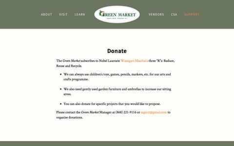 Screenshot of Support Page greenmarketsantacruz.com - Donate — Green Market Santa Cruz - captured March 11, 2017