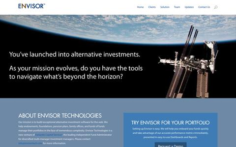 Screenshot of Home Page envisortech.com - Envisor Technologies | We help endowments, foundations, pension plans, family offices, and funds of funds manage their portfolios in the face of tremendous complexity. - captured Oct. 2, 2014