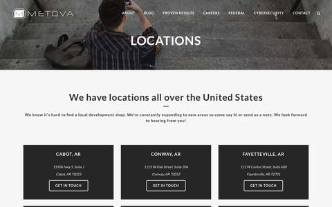 Screenshot of Locations Page metova.com - Mobile App Development Services – Android, iPhone, iPad & Web | Metova, Inc.  | Metova | Software Development Office Locations - captured June 23, 2016