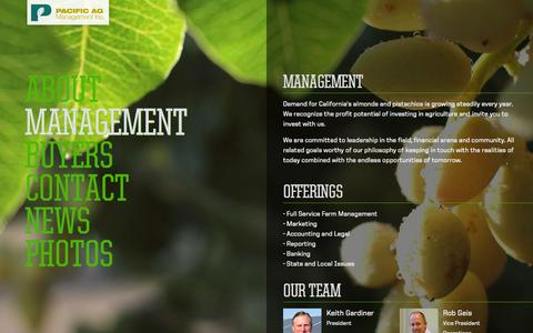Screenshot of Team Page pac-ag.com - Management - Pacific AG Management - captured Oct. 1, 2014