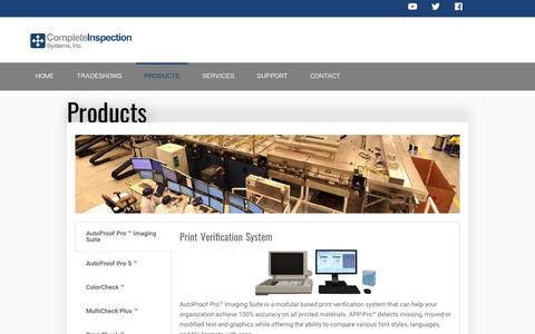 Screenshot of Products Page completeinspectionsystems.net - Products | Complete Inspection Systems, Inc. - captured Nov. 7, 2019