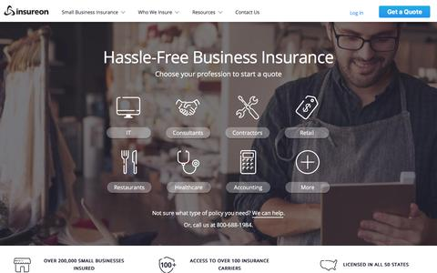 Screenshot of Home Page insureon.com - Insureon | Compare Insurance Quotes for Small Businesses - captured Jan. 30, 2018
