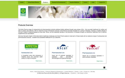 Screenshot of Products Page kotrapharma.com - KOTRA PHARMA :: Products - captured Oct. 6, 2014