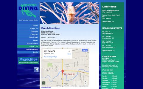 Screenshot of Maps & Directions Page ddwny.com - Maps & Directions   Discover Diving - captured Oct. 5, 2014