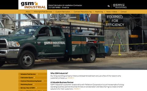 Screenshot of Home Page gsmindustrial.com - GSM Industrial: Metal Fabrication, Millwright Services - captured July 18, 2015