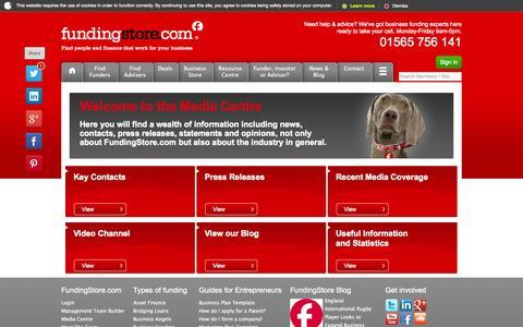 Screenshot of Press Page fundingstore.com - Media Centre - Press Relations - FundingStore.com - captured Oct. 27, 2014