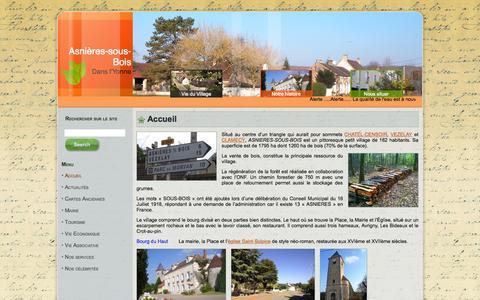 Screenshot of Home Page asnieres-sous-bois.fr - Asnières-Sous-Bois - Mairie d\\'Asnières-Sous-Bois dans l\\'Yonne - captured Oct. 16, 2015