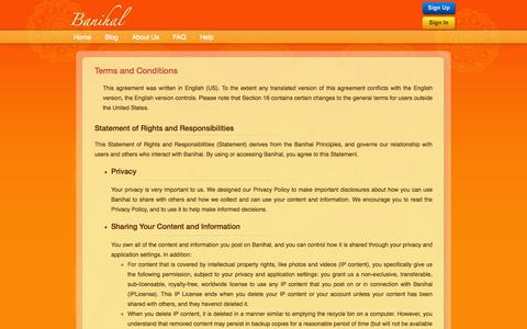 Screenshot of Terms Page banihal.com - Banihal - Terms and Conditions - captured Oct. 5, 2014