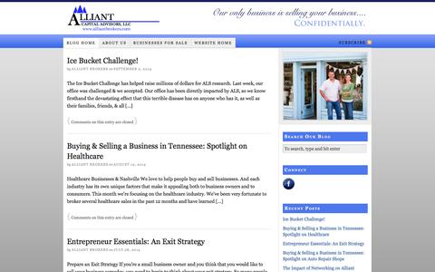 Screenshot of Blog alliantbrokers.com - Nashville Business Brokers, Alliant Capital Advisors, Sell Your Business Nashville, Business Mergers and Acquisitions, Nashville Businesses for Sale — Business Brokerage Firm in Nashville - captured Oct. 4, 2014