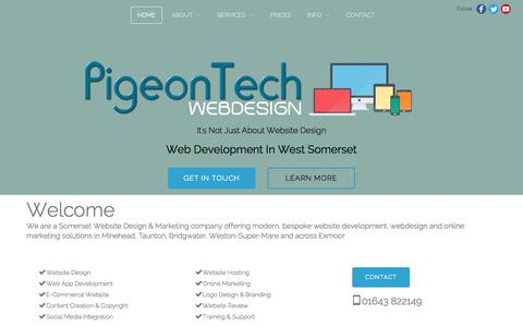 Screenshot of Home Page pigeontech.co.uk - PigeonTech Website Design in West Somerset - Somerset Website Design by PigeonTech - captured Nov. 6, 2016