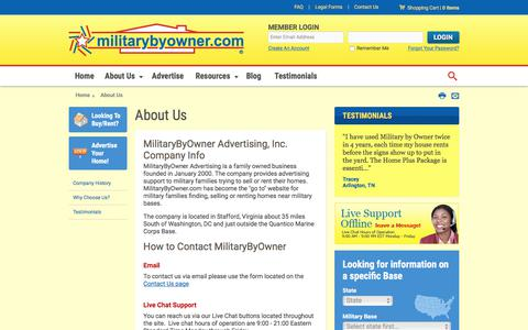 Screenshot of About Page militarybyowner.com - About Us - MilitaryByOwner Advertising, Inc - captured June 11, 2017