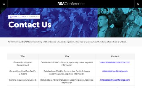 Screenshot of Contact Page rsaconference.com - Contact Us | RSA Conference - captured Aug. 22, 2019