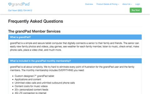 Screenshot of FAQ Page grandpad.net - FAQs About Our Tablet for Seniors | grandPad - captured July 20, 2016