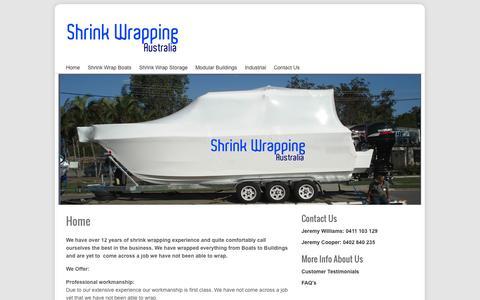 Screenshot of Home Page Site Map Page shrinkwrappingaustralia.com.au - Shrink Wrapping Australia | Shrink Wrap Boat | Marine Shrink Wrapping - captured Oct. 4, 2014