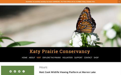 Screenshot of Hours Page katyprairie.org - Hours — Katy Prairie Conservancy - captured Nov. 3, 2014