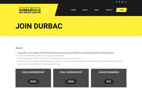 Screenshot of Signup Page durbac.org.za - Durbac | Join us Today - captured Oct. 30, 2018