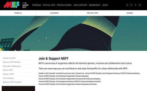 Screenshot of Signup Page miff.com.au - Join & Support MIFF | MIFF 2019 - captured July 12, 2019