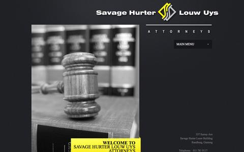 Screenshot of Home Page savagehurter.co.za - Welcome to Savage Hurter Louw & Uys Incorporated - captured Feb. 4, 2016