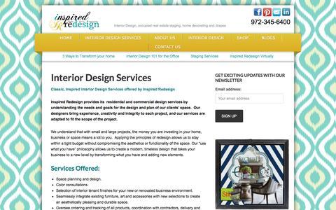 Screenshot of Services Page inspiredredesign.com - Interior design and real estate staging services in dallas texas –Interior Design Inspired Redesign-Interior Decorating - captured Jan. 8, 2016