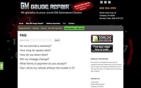 Screenshot of FAQ Page gmgaugerepair.com - Auto Instrument Repair, Auto Gauge Repair, Dash Repair - captured May 22, 2016