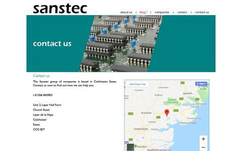 Screenshot of Contact Page sanstec.com - Contact Sanstec - captured Nov. 3, 2018