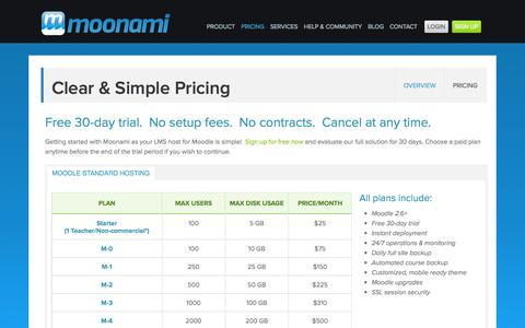 Screenshot of Pricing Page moonami.com - Moodle Host | Moonami | 30-Day Free TrialMoonami - captured Oct. 9, 2014