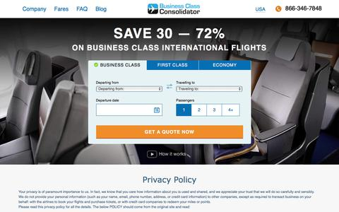 Screenshot of Privacy Page businessclassconsolidator.com - Business Class Consolidator | Discounted Business Class Flights | Travel the World in Comfort for Less - captured Aug. 4, 2018