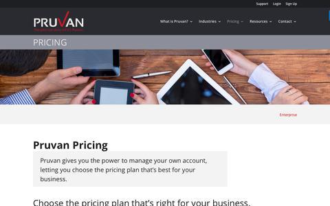 Screenshot of Pricing Page pruvan.com - Pruvan Pricing - Free, Usage Based, or Device Based Pricing Options - captured Sept. 19, 2017