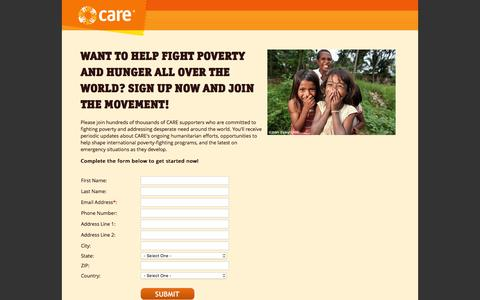 Screenshot of Signup Page care.org - CARE: Defending Dignity. Fighting Poverty. - CARE: Donate Now - captured March 2, 2016
