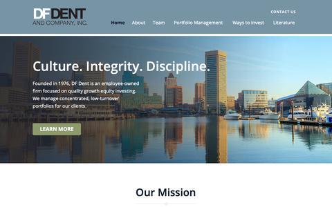 Screenshot of Home Page dfdent.com - Home - D.F. Dent & Co., Inc. - captured Oct. 7, 2018