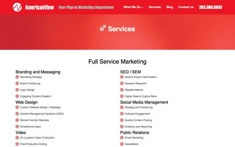 Screenshot of Services Page americanviewproductions.com - Full Service Marketing in Bridgeport Connecticut   American ViewAmerican View Productions - captured May 30, 2017
