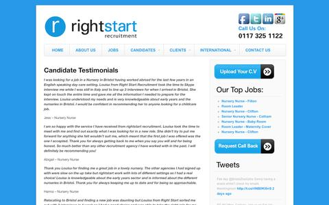 Screenshot of Testimonials Page rightstartrecruit.com - Candidate Testimonials | Right Start Recruitment - captured Oct. 26, 2014