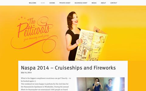 Screenshot of Press Page thepetticoats.com - NEWS — The Petticoats - captured Sept. 30, 2014